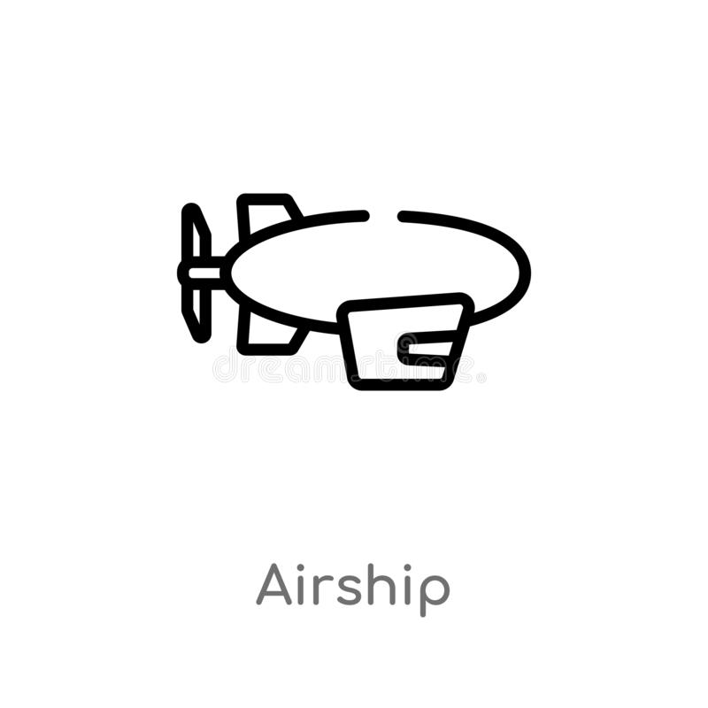 Outline airship vector icon. isolated black simple line element illustration from free time concept. editable vector stroke. Airship icon on white background vector illustration