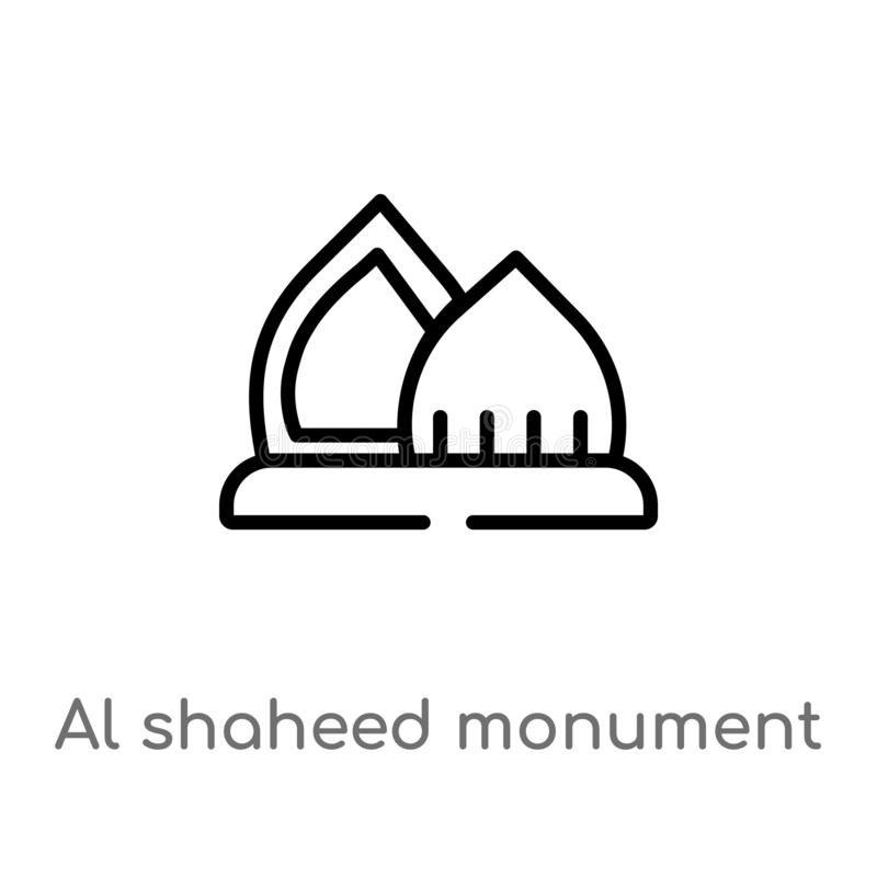 outline al shaheed monument vector icon. isolated black simple line element illustration from monuments concept. editable vector stock illustration