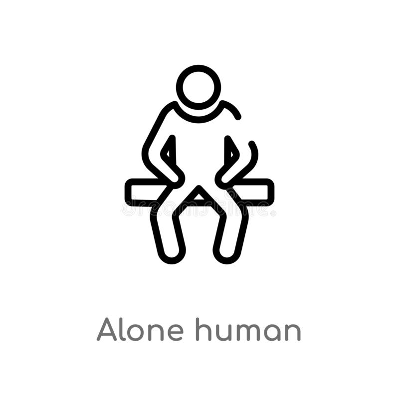 outline alone human vector icon. isolated black simple line element illustration from feelings concept. editable vector stroke vector illustration