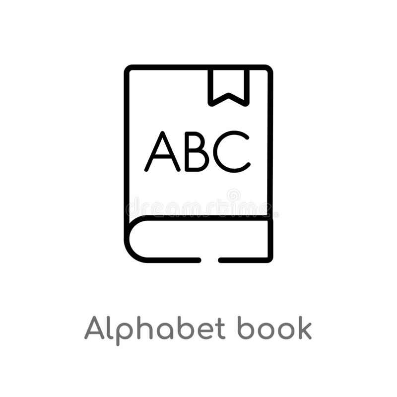 Outline alphabet book vector icon. isolated black simple line element illustration from education concept. editable vector stroke. Alphabet book icon on white vector illustration