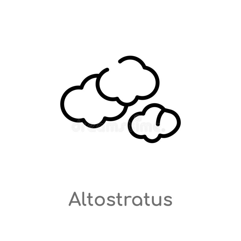 Outline altostratus vector icon. isolated black simple line element illustration from weather concept. editable vector stroke. Altostratus icon on white vector illustration