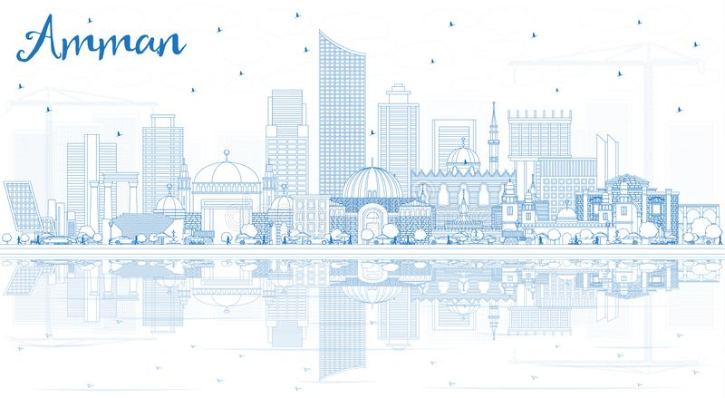 Outline Amman Jordan Skyline with Blue Buildings and Reflections. Vector Illustration. Business Travel and Tourism Concept with Modern Architecture. Amman vector illustration