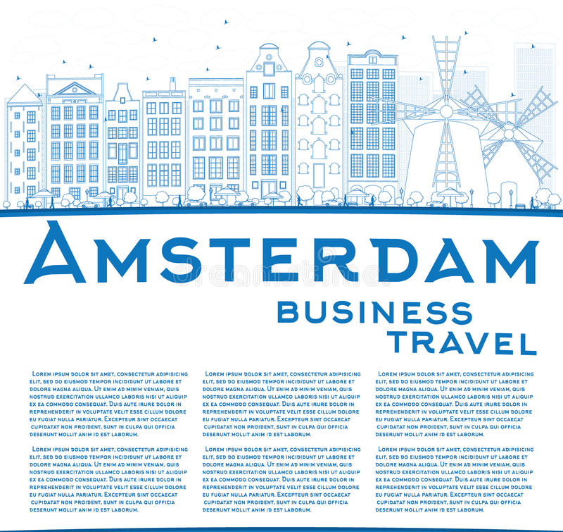 Outline Amsterdam city skyline with blue buildings and copy space. Vector illustration. Business travel and tourism concept with place for text. Image for vector illustration