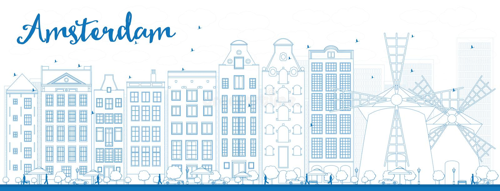 Outline Amsterdam city skyline with blue buildings. Vector illustration. Business travel and tourism concept with historic buildings. Image for presentation royalty free illustration