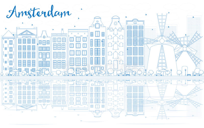Outline Amsterdam skyline with blue buildings and reflections. Vector illustration. Business travel and tourism concept with place for text. Image for stock illustration
