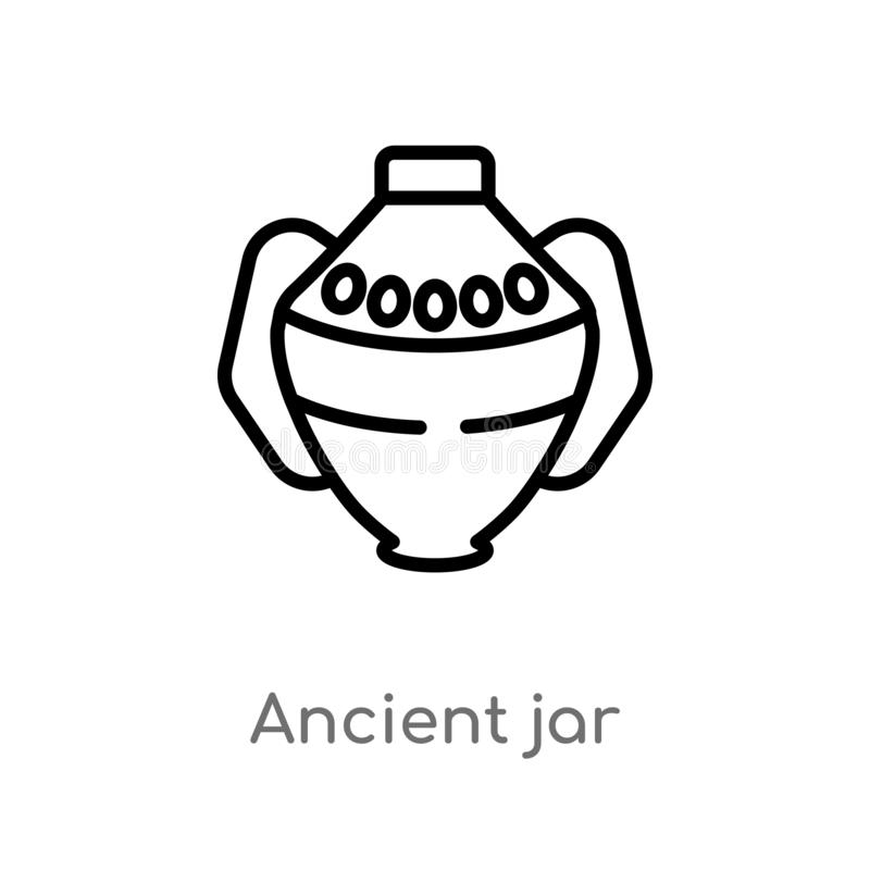 outline ancient jar vector icon. isolated black simple line element illustration from history concept. editable vector stroke vector illustration