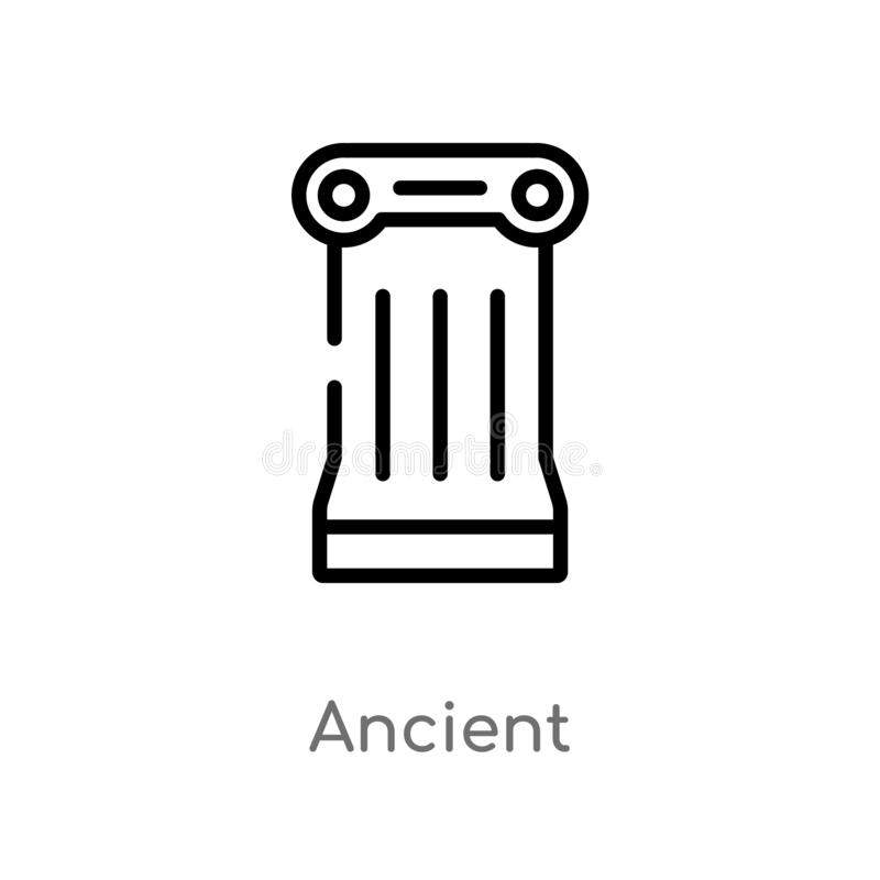 outline ancient vector icon. isolated black simple line element illustration from history concept. editable vector stroke ancient vector illustration