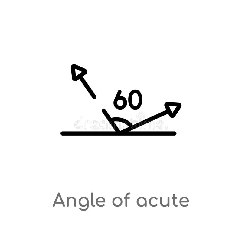 Outline angle of acute vector icon. isolated black simple line element illustration from shapes concept. editable vector stroke. Angle of acute icon on white stock illustration
