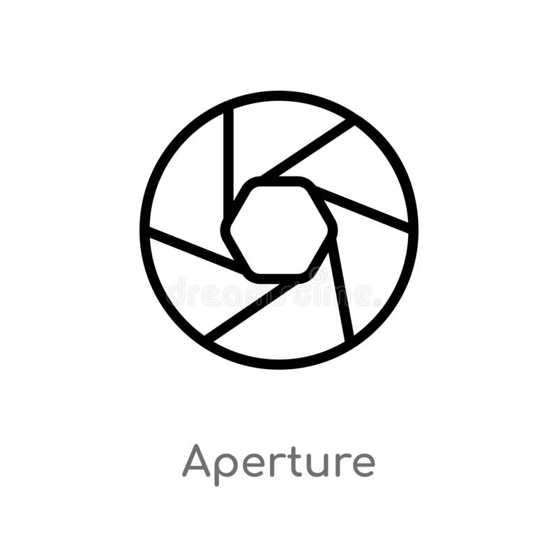 Outline aperture vector icon. isolated black simple line element illustration from electronic stuff fill concept. editable vector. Stroke aperture icon on white royalty free illustration