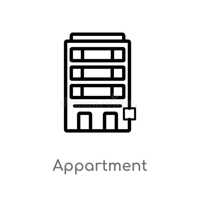 Outline appartment vector icon. isolated black simple line element illustration from buildings concept. editable vector stroke. Appartment icon on white royalty free illustration
