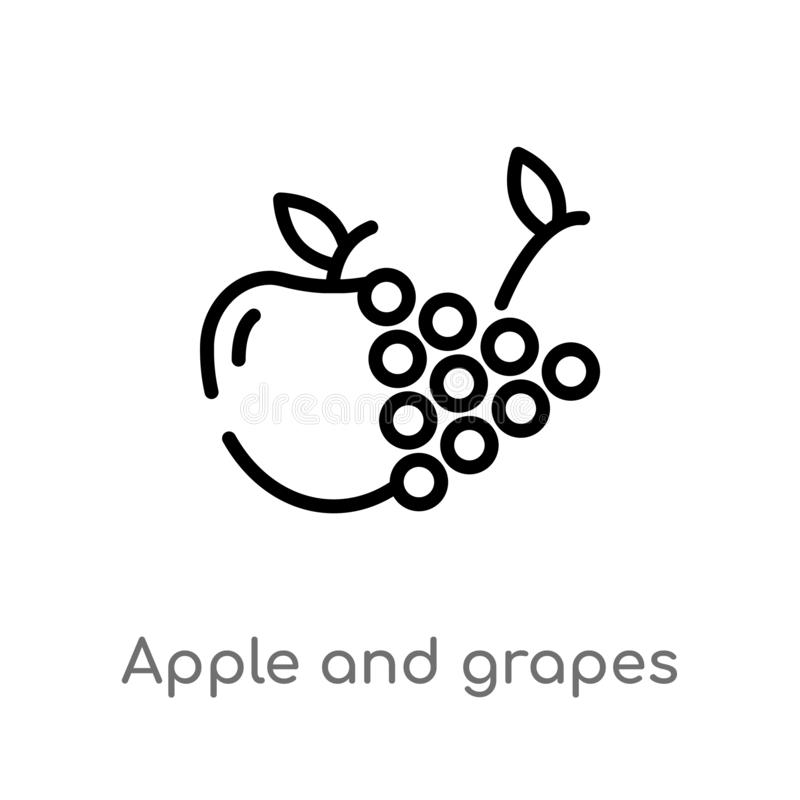 outline apple and grapes vector icon. isolated black simple line element illustration from food concept. editable vector stroke vector illustration