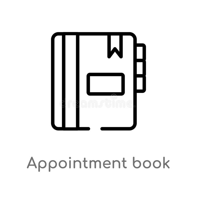 Outline appointment book vector icon. isolated black simple line element illustration from hygiene concept. editable vector stroke. Appointment book icon on vector illustration