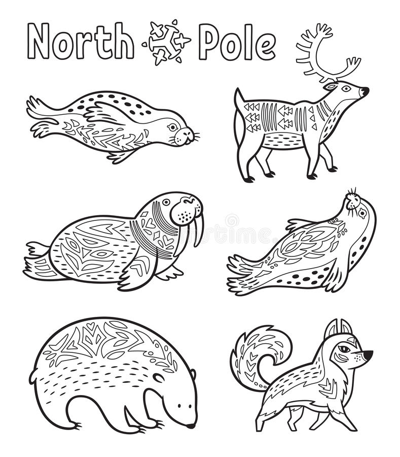 outline arctic animals set for coloring page stock vector illustration of beautiful. Black Bedroom Furniture Sets. Home Design Ideas