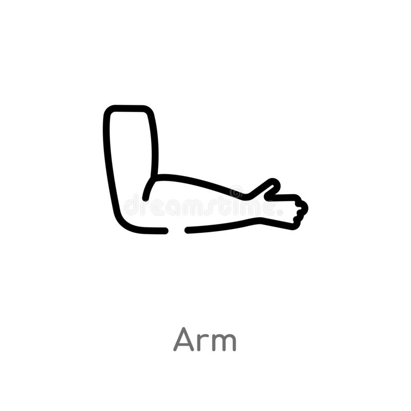 Outline arm vector icon. isolated black simple line element illustration from medical concept. editable vector stroke arm icon on. White background vector illustration