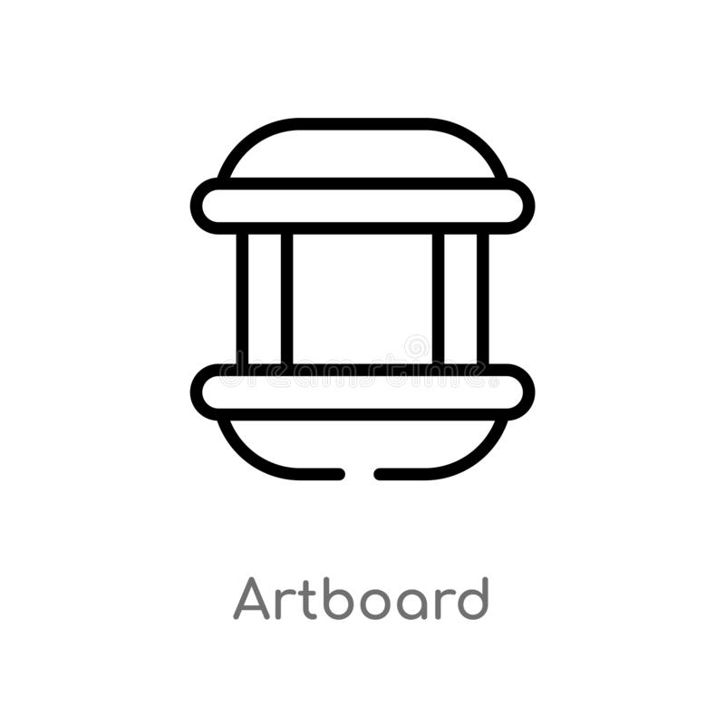 Outline artboard vector icon. isolated black simple line element illustration from user interface concept. editable vector stroke. Artboard icon on white royalty free illustration