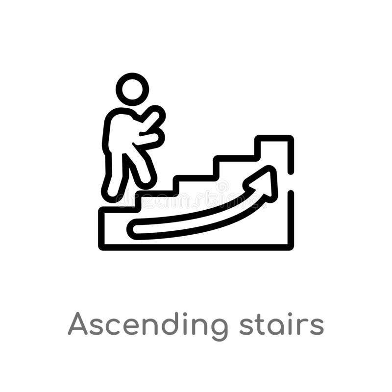Outline ascending stairs vector icon. isolated black simple line element illustration from signs concept. editable vector stroke. Ascending stairs icon on white stock illustration