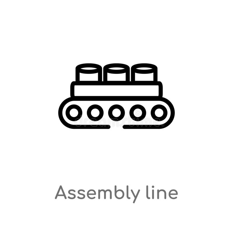 outline assembly line vector icon. isolated black simple line element illustration from industry concept. editable vector stroke stock illustration