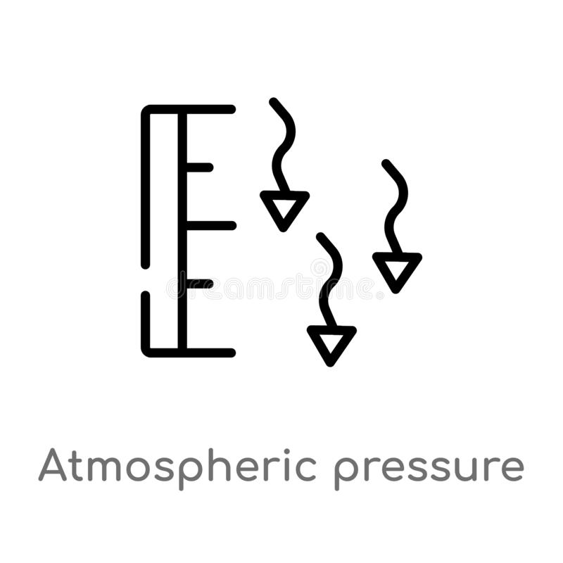 Outline atmospheric pressure vector icon. isolated black simple line element illustration from weather concept. editable vector. Stroke atmospheric pressure vector illustration