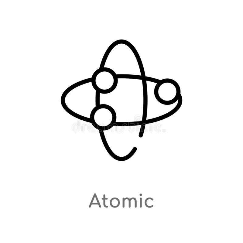outline atomic vector icon. isolated black simple line element illustration from chemistry concept. editable vector stroke atomic stock illustration