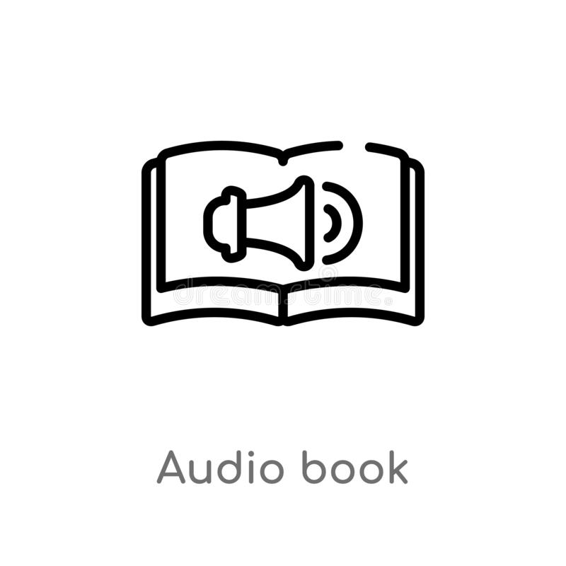Outline audio book vector icon. isolated black simple line element illustration from education concept. editable vector stroke. Audio book icon on white stock illustration