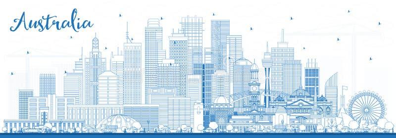 Outline Australia City Skyline with Blue Buildings stock illustration