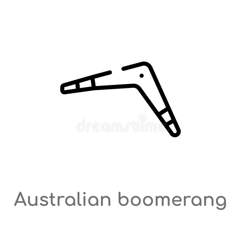 outline australian boomerang vector icon. isolated black simple line element illustration from culture concept. editable vector stock illustration