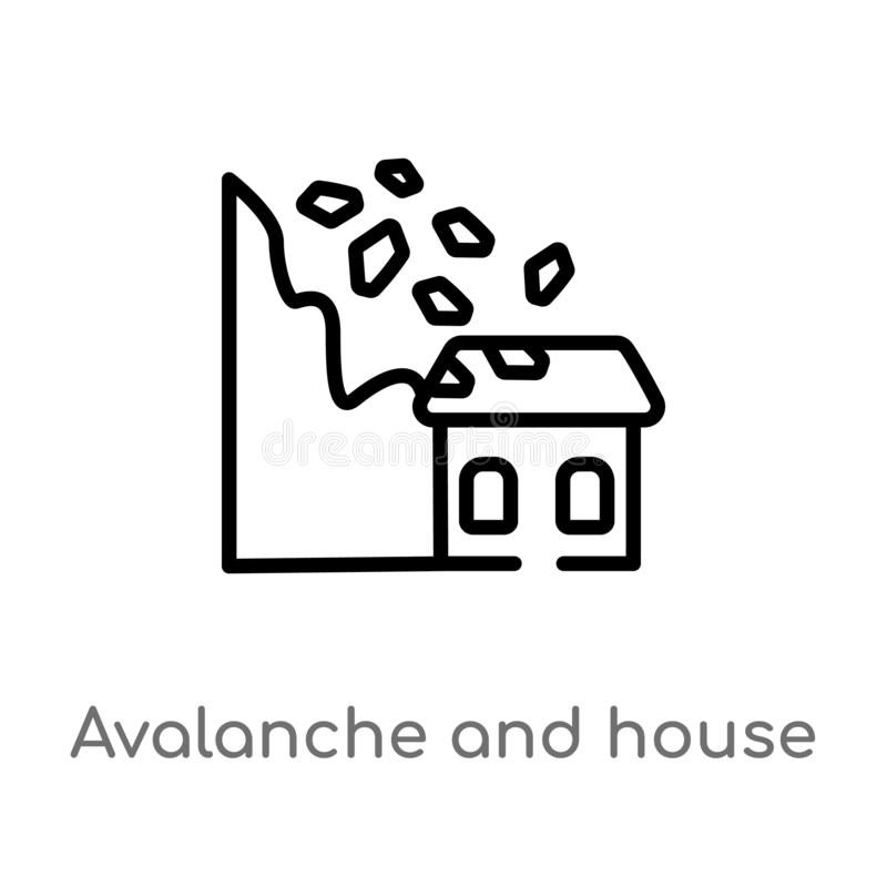 Outline avalanche and house vector icon. isolated black simple line element illustration from meteorology concept. editable vector. Stroke avalanche and house stock illustration
