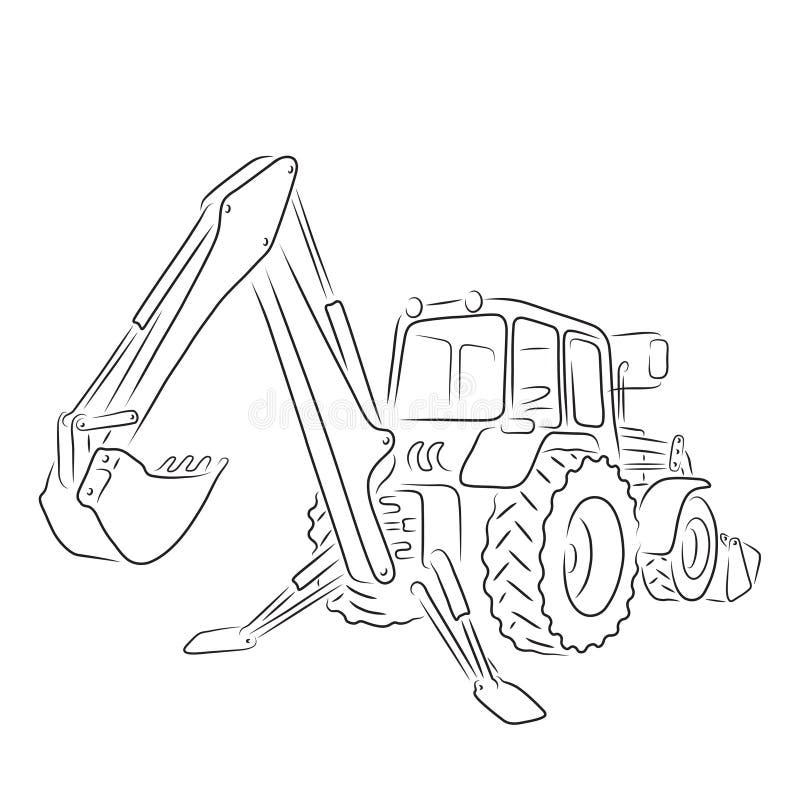 Outline of backhoe loader, vector illustration. Hand-drawn outline of backhoe loader isolated on white background. Art vector illustration for your design royalty free illustration