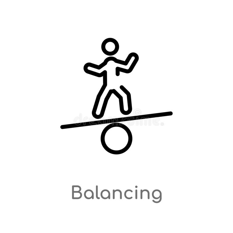 outline balancing vector icon. isolated black simple line element illustration from activity and hobbies concept. editable vector royalty free illustration