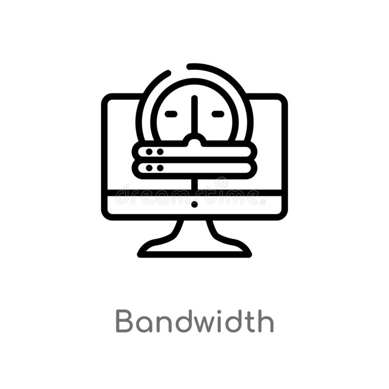 outline bandwidth vector icon. isolated black simple line element illustration from web hosting concept. editable vector stroke royalty free illustration