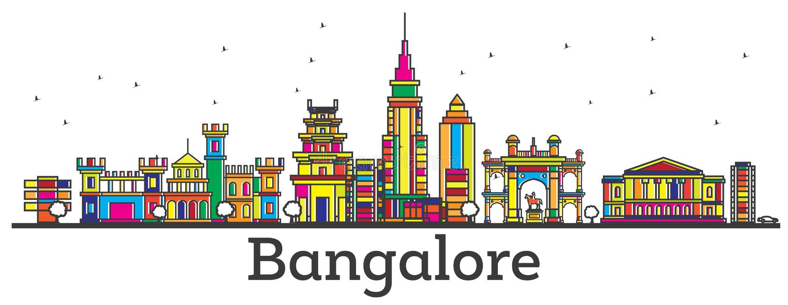 Outline Bangalore India City Skyline with Color Buildings Isolated on White. Vector Illustration. Bangalore Cityscape with Landmarks vector illustration