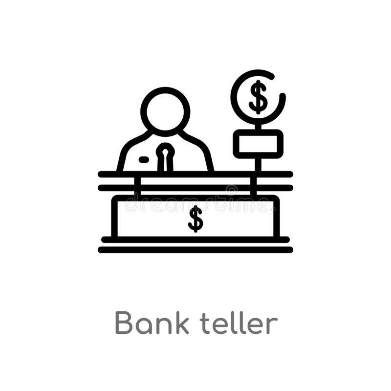 Outline bank teller vector icon. isolated black simple line element illustration from business concept. editable vector stroke. Bank teller icon on white vector illustration