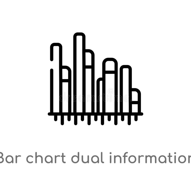 Outline bar chart dual information vector icon. isolated black simple line element illustration from business concept. editable. Vector stroke bar chart dual vector illustration