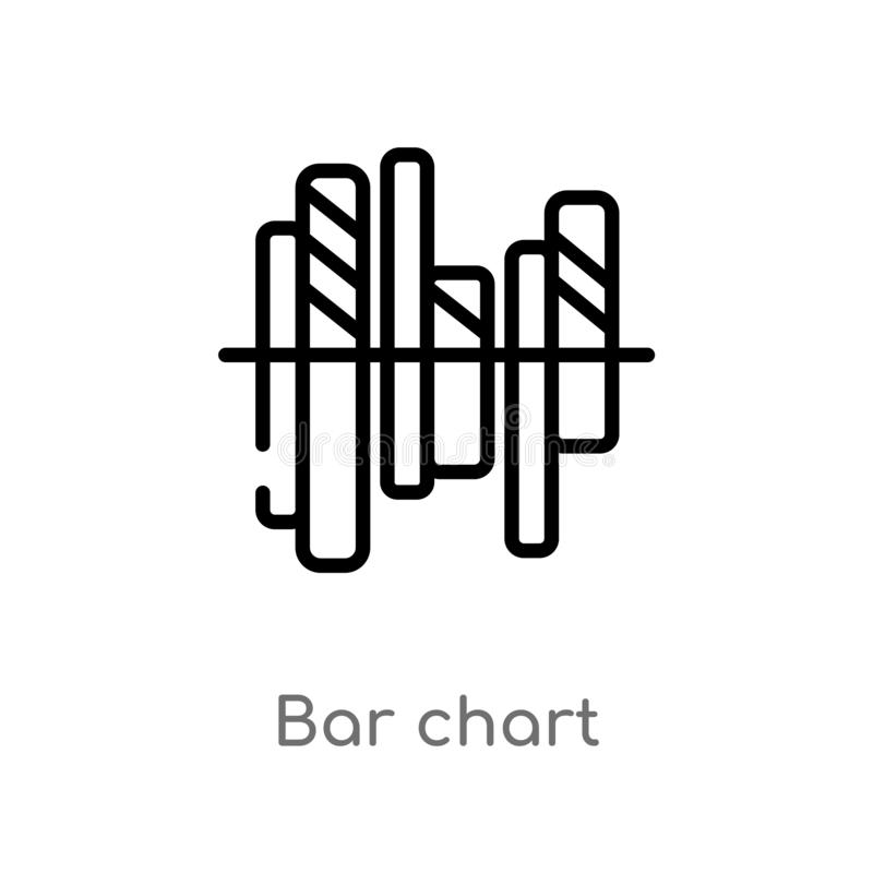 Outline bar chart vector icon. isolated black simple line element illustration from digital economy concept. editable vector. Stroke bar chart icon on white vector illustration
