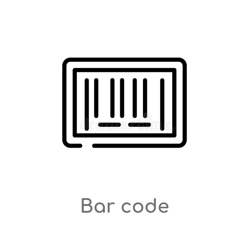 Outline bar code vector icon. isolated black simple line element illustration from delivery and logistics concept. editable vector. Stroke bar code icon on stock illustration
