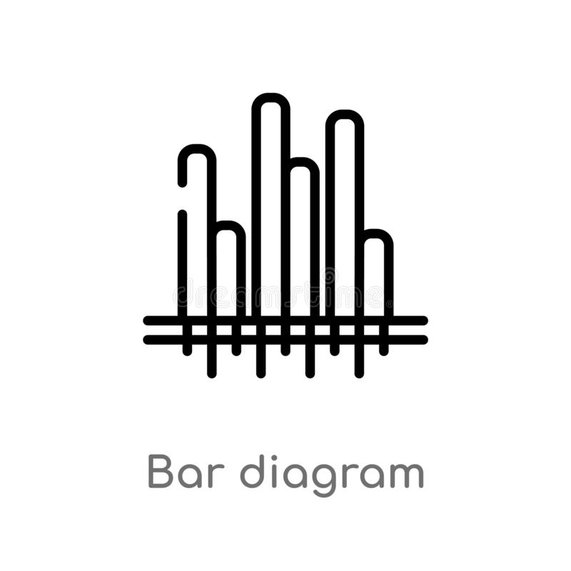 Outline bar diagram vector icon. isolated black simple line element illustration from business concept. editable vector stroke bar. Diagram icon on white royalty free illustration
