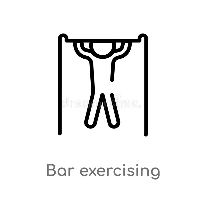 Outline bar exercising vector icon. isolated black simple line element illustration from gym and fitness concept. editable vector. Stroke bar exercising icon on stock illustration