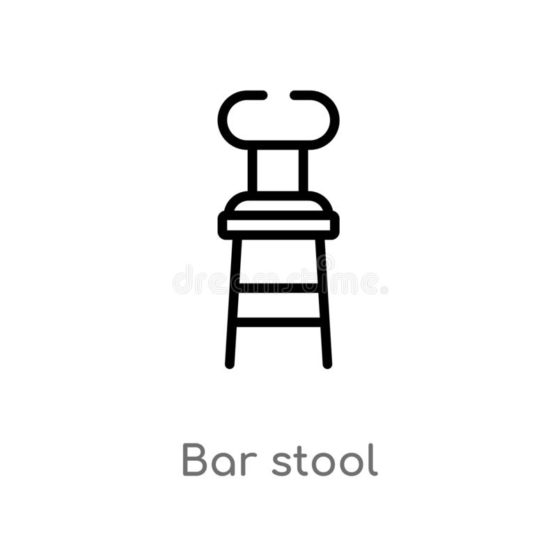 Outline bar stool vector icon. isolated black simple line element illustration from buildings concept. editable vector stroke bar. Stool icon on white stock illustration