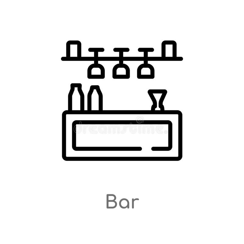 Outline bar vector icon. isolated black simple line element illustration from summer concept. editable vector stroke bar icon on. White background stock illustration