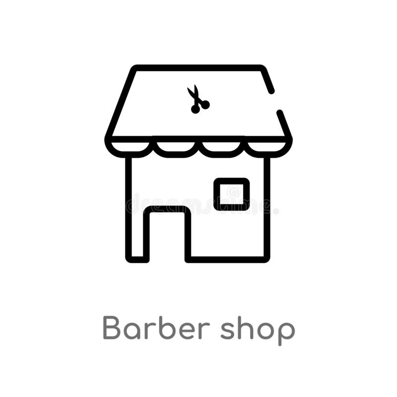 outline barber shop vector icon. isolated black simple line element illustration from beauty concept. editable vector stroke vector illustration