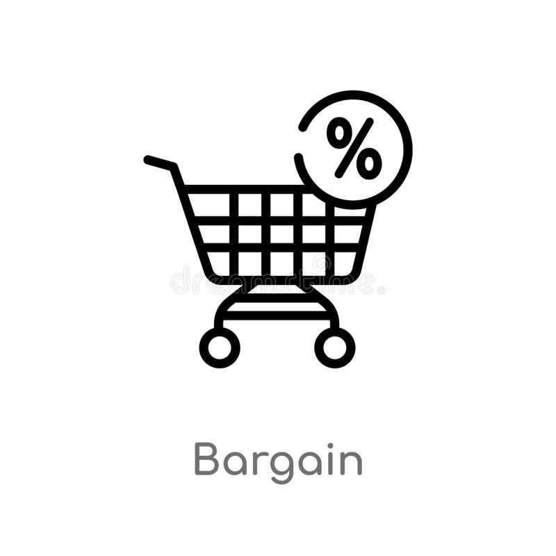 outline bargain vector icon. isolated black simple line element illustration from law and justice concept. editable vector stroke stock illustration
