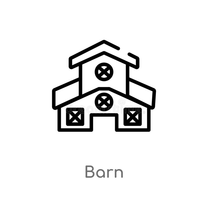outline barn vector icon. isolated black simple line element illustration from farming concept. editable vector stroke barn icon royalty free illustration
