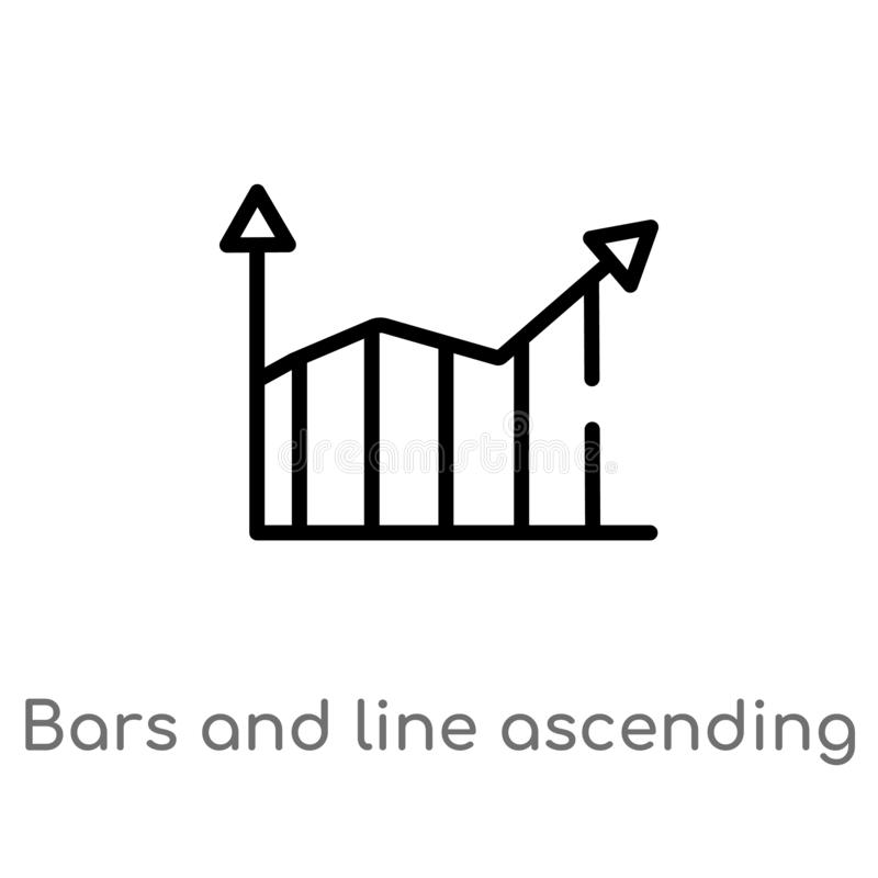 Outline bars and line ascending of data analytics vector icon. isolated black simple line element illustration from user interface. Concept. editable vector vector illustration