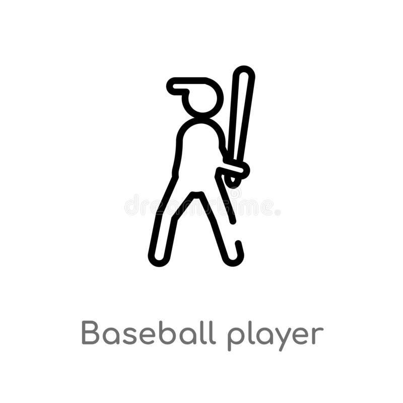outline baseball player with bat vector icon. isolated black simple line element illustration from sports concept. editable vector vector illustration