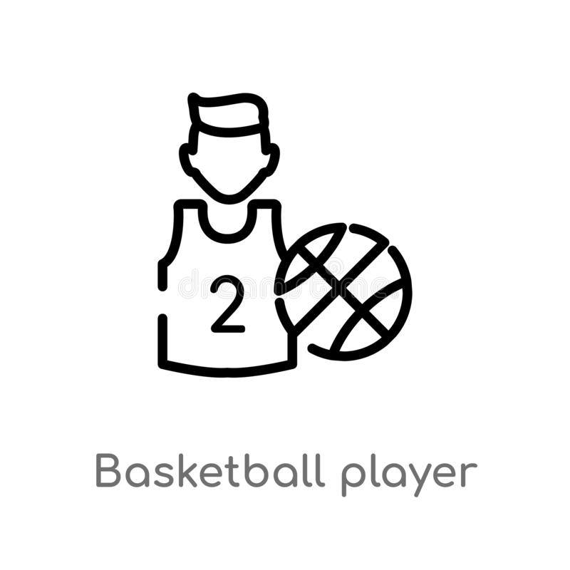outline basketball player vector icon. isolated black simple line element illustration from job profits concept. editable vector stock illustration