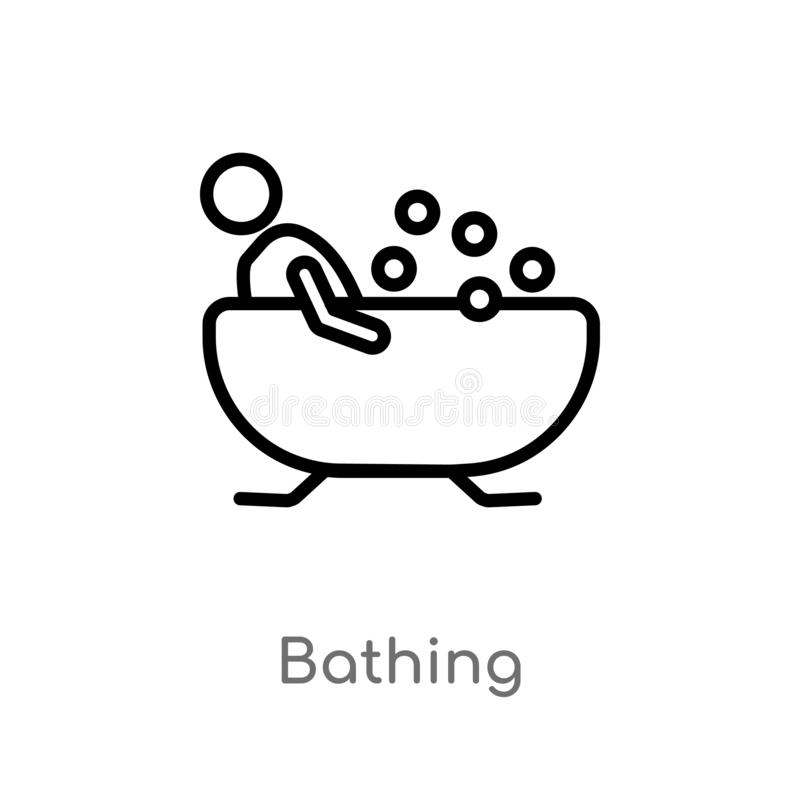 outline bathing vector icon. isolated black simple line element illustration from holidays concept. editable vector stroke bathing royalty free illustration