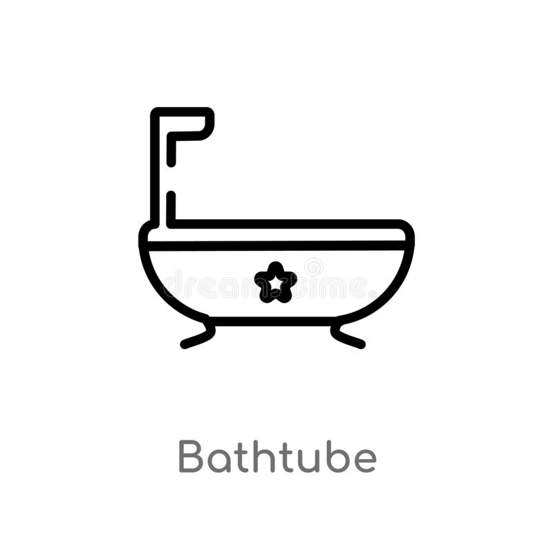 outline bathtube vector icon. isolated black simple line element illustration from holidays concept. editable vector stroke stock illustration