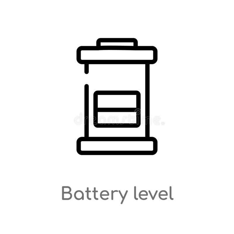 Outline battery level vector icon. isolated black simple line element illustration from technology concept. editable vector stroke. Battery level icon on white vector illustration