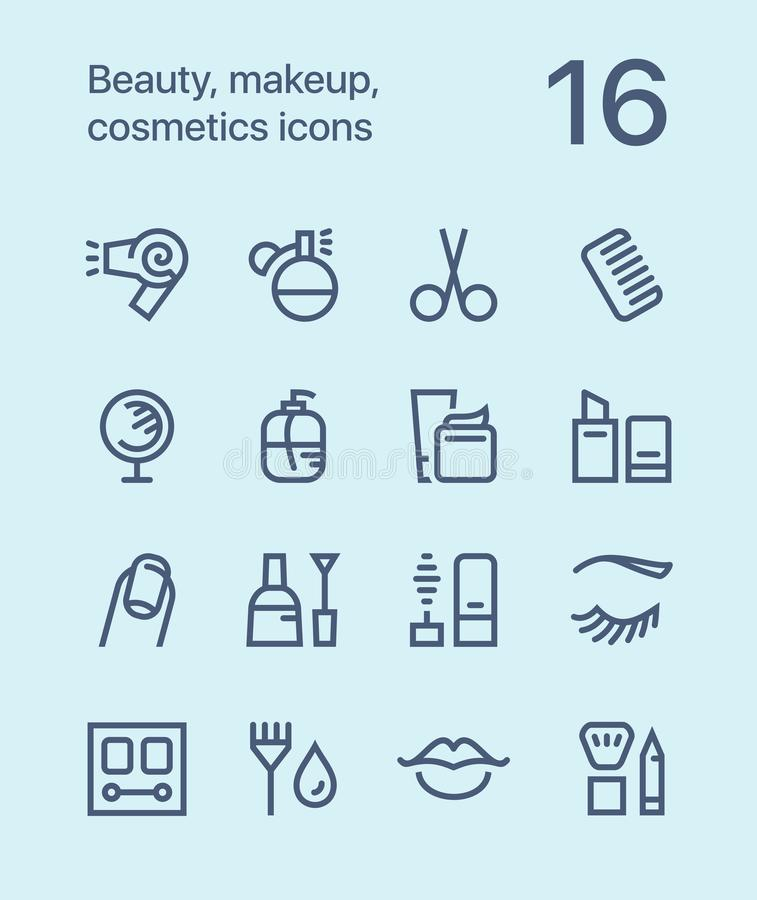 Outline Beauty, cosmetics, makeup icons for web and mobile design pack 1 royalty free stock photos