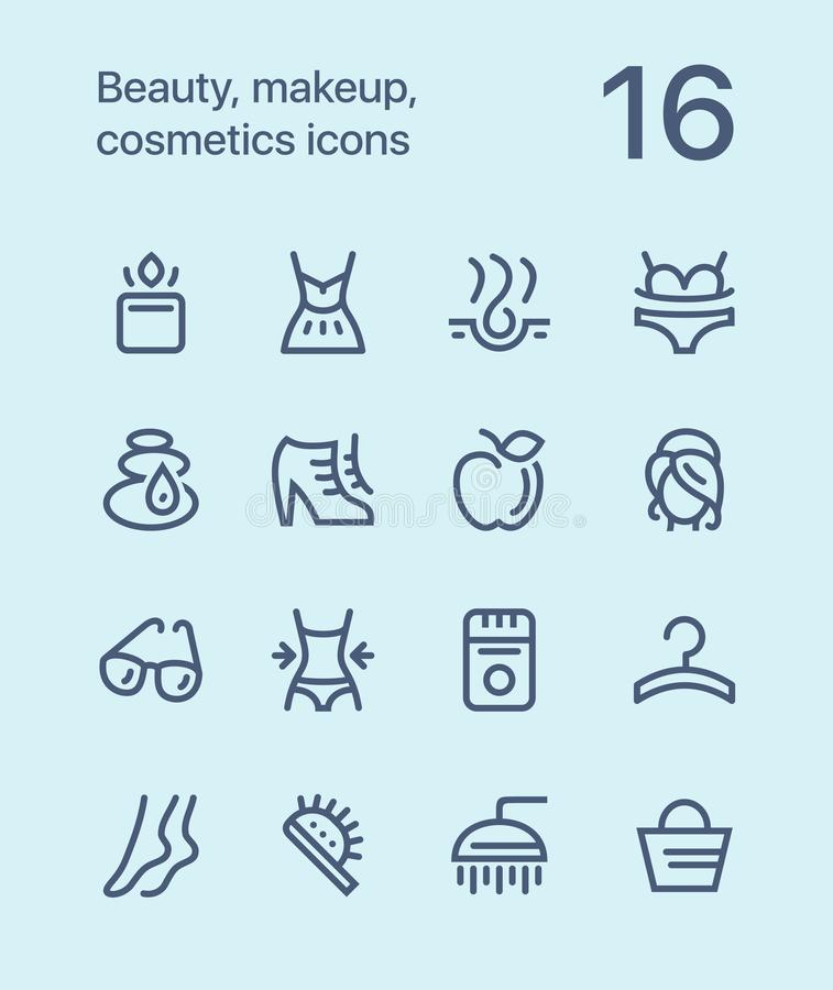 Outline Beauty, cosmetics, makeup icons for web and mobile design pack 2. 16 outline flat vector icons